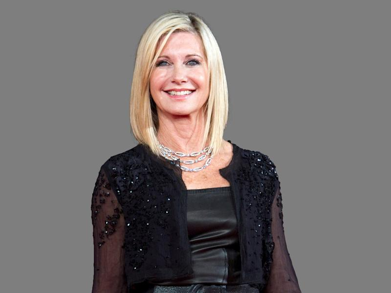 Olivia Newton-John headshot, singer, graphic element on gray