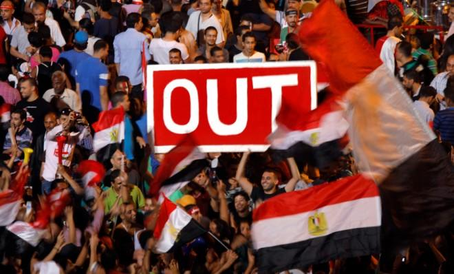 Egyptians call for the ouster of Islamist President Mohamed Morsi during protests on June 30.