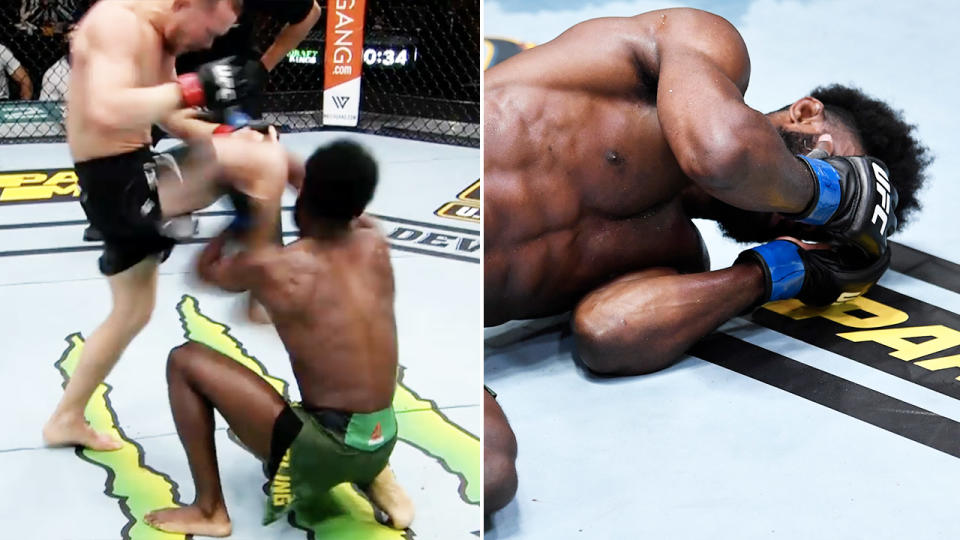 Petr Yan, pictured here after his illegal knee to Aljamain Sterling at UFC 259.