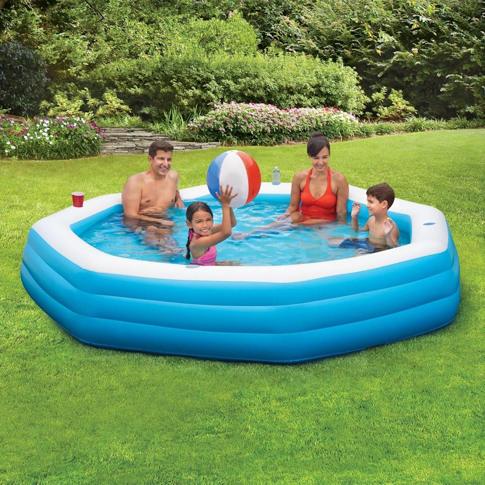 <p>No pool? No problem. The whole family can enjoy this <span>Summer Waves Inflatable Octagon Swimming Pool</span> ($38).</p>