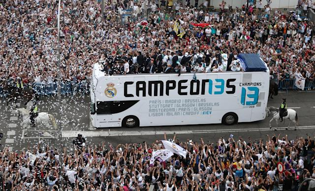 Soccer Football - Real Madrid celebrate winning the Champions League Final - Madrid, Spain - May 27, 2018 Real Madrid team bus during victory celebrations REUTERS/Sergio Perez