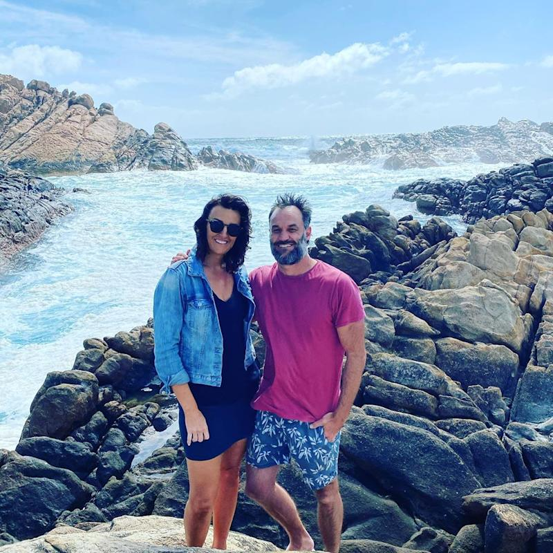 Bianca Chatfield and Mark Scrivens at the beach