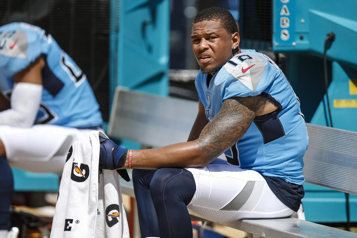 JACKSONVILLE, FL - SEPTEMBER 23: Tennessee Titans wide receiver Rishard Matthews (18) on the sidelines during the game between the Tennessee Titans and the Jacksonville Jaguars on September 23, 2018 at TIAA Bank Field in Jacksonville, Fl. (Photo by David Rosenblum/Icon Sportswire via Getty Images)