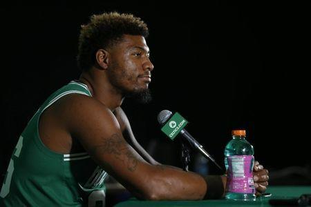 FILE PHOTO: Sep 24, 2018; Canton, MA, USA; Boston Celtics guard Marcus Smart (36) during media day at High Output Studios. Mandatory Credit: Greg M. Cooper-USA TODAY Sports/File Photo