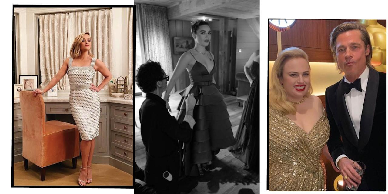 "<p>Last night's <a href=""https://www.elle.com/uk/oscars-fashion-makeup-hair/"" target=""_blank"">Academy Awards</a> saw <a href=""https://www.elle.com/uk/life-and-culture/culture/a30840401/brad-pitt-oscars-leonardo-dicaprio-speech/"" target=""_blank"">Brad Pitt win his first Oscar</a>, film <a href=""https://www.elle.com/uk/life-and-culture/culture/a30837000/best-picture-oscars-parasite/"" target=""_blank"">Parasite steal the show </a>and our favourite A-listers take to the red carpet in their <a href=""https://www.elle.com/uk/fashion/g30831492/oscars-best-dressed/"" target=""_blank"">finest attire</a>. It also saw performances from Janelle Monáe and <a href=""https://www.elle.com/uk/life-and-culture/a30842511/eminem-performance-oscars-2020/"" target=""_blank"">Eminem</a>. Yes, you read that correctly, Eminem. </p><p>But what do we love more than the red carpet dresses and the stars winning awards? The celebrities sharing their behind-the-scenes snaps on Instagram, of course. Whether it's selfies in their seats, the <a href=""https://www.elle.com/uk/fashion/celebrity-style/g30847701/oscars-after-party-best-dressed/"" target=""_blank"">after party fun </a>or robes and room service at the end of the night, we're here for it. </p><p>Here are our favourite moments from celebrities' Instagrams from Oscars day/night...</p>"