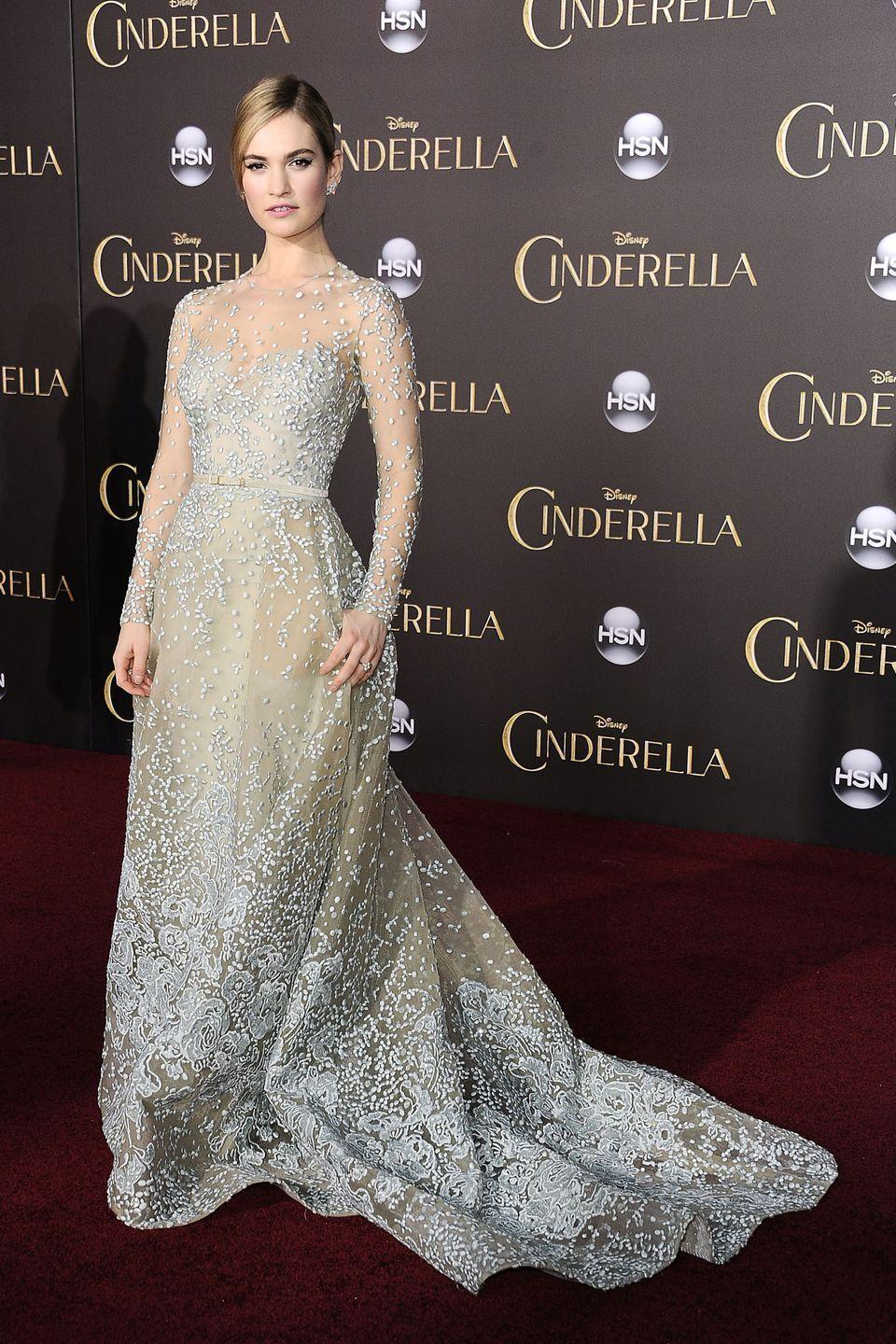 <p>Lily James played the live-action version of<em> Cinderella </em>in 2015, so it was fitting that the actress paid homage to her character's iconic blue dress at the premiere.</p>