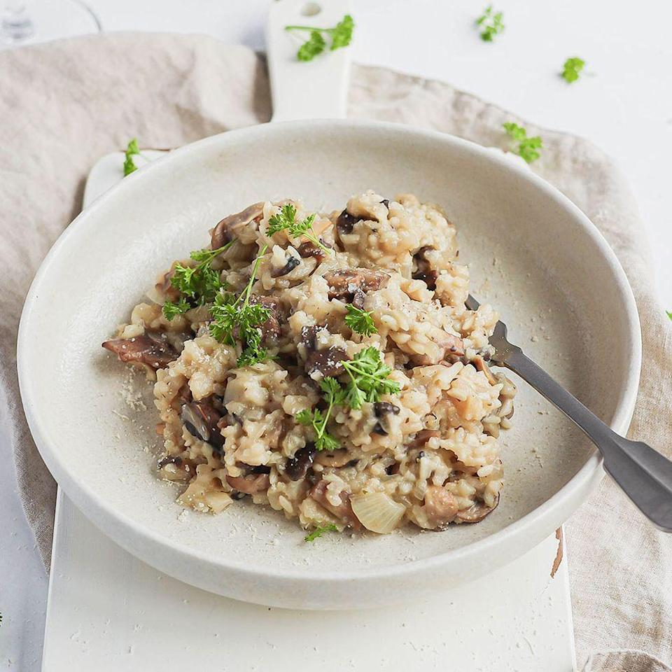 """<p>We fry our onions and mushrooms in batches to make sure you get some delicious colour on the mushrooms. Although it might seem tempting to chuck it all in the pan at the same time, you won't get the same level of buttery toastiness if you do!</p><p>Get the <a href=""""https://www.delish.com/uk/cooking/a34795291/slow-cooker-mushroom-risotto/"""" rel=""""nofollow noopener"""" target=""""_blank"""" data-ylk=""""slk:Slow Cooker Mushroom Risotto"""" class=""""link rapid-noclick-resp"""">Slow Cooker Mushroom Risotto</a> recipe. </p>"""
