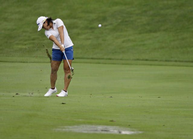 Nasa Hatoka, of Japan, hits to the ninth green during the second round of the Indy Women in Tech Championship golf tournament, Friday, Aug. 17, 2018, Indianapolis. (AP Photo/Darron Cummings)