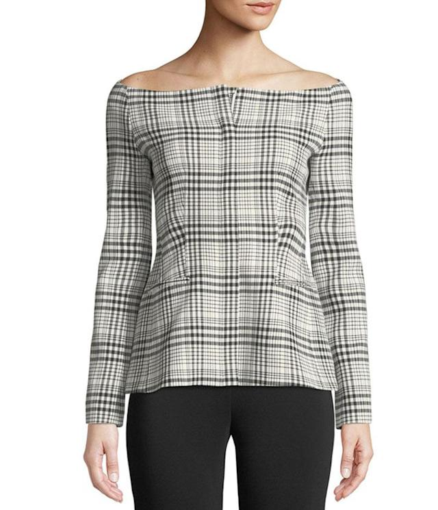 "<p>(Similar version) Off-the-Shoulder Long Sleeve Brea Check Jacket, $495, <a href=""https://www.neimanmarcus.com/Theory-Off-the-Shoulder-Long-Sleeve-Brea-Check-Jacket/prod208790082/p.prod?ecid=NMAF__Time+Inc+Brands&CS_003=5630585&utm_medium=affiliate&utm_source=NMAF__Time+Inc+Brands"" rel=""nofollow noopener"" target=""_blank"" data-ylk=""slk:neimanmarcus.com"" class=""link rapid-noclick-resp"">neimanmarcus.com</a> </p>"