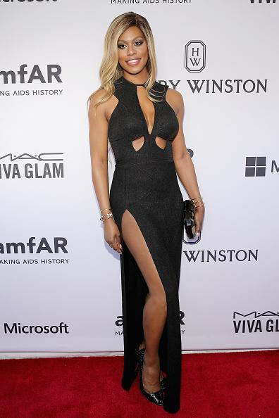 Laverne Cox switched it up for the amfAR gala and wore an undeniably sexy Michael Costelo gown. The dress not only featured a thigh-high slit that rivaled Angelina Jolie's but a keyhole and cutouts as well.