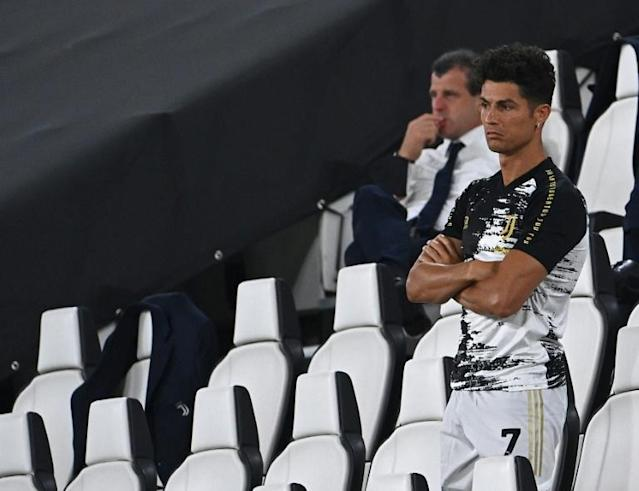 Cristiano Ronaldo looks on as Juventus fell to their second consecutive defeat. (AFP Photo/Isabella BONOTTO)