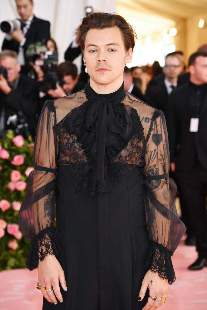 Harry Styles is no stranger to a quirky look, pictured here at the 2019 Met Gala. (Getty Images)