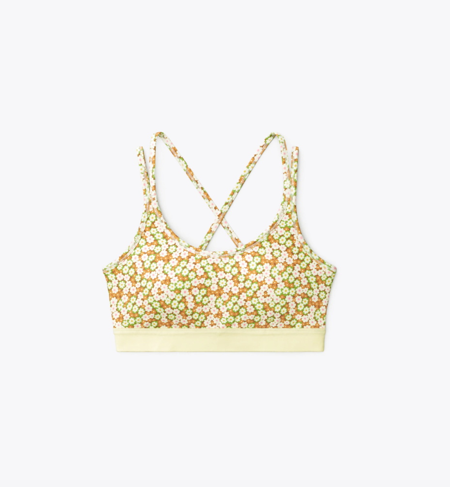 """<p><strong>Tory Sport</strong></p><p>toryburch.com</p><p><strong>$98.00</strong></p><p><a href=""""https://go.redirectingat.com?id=74968X1596630&url=https%3A%2F%2Fwww.toryburch.com%2Fprinted-cross-back-bra%2F73693.html&sref=https%3A%2F%2Fwww.townandcountrymag.com%2Fstyle%2Fg37340584%2Fshop-the-best-deals-from-tory-burchs-private-sale%2F"""" rel=""""nofollow noopener"""" target=""""_blank"""" data-ylk=""""slk:Shop Now"""" class=""""link rapid-noclick-resp"""">Shop Now</a></p><p><strong><del>$98</del> $69 (30% off)</strong></p><p>But, why stop with a cute pair of leggings when you can buy a matching bra?</p>"""