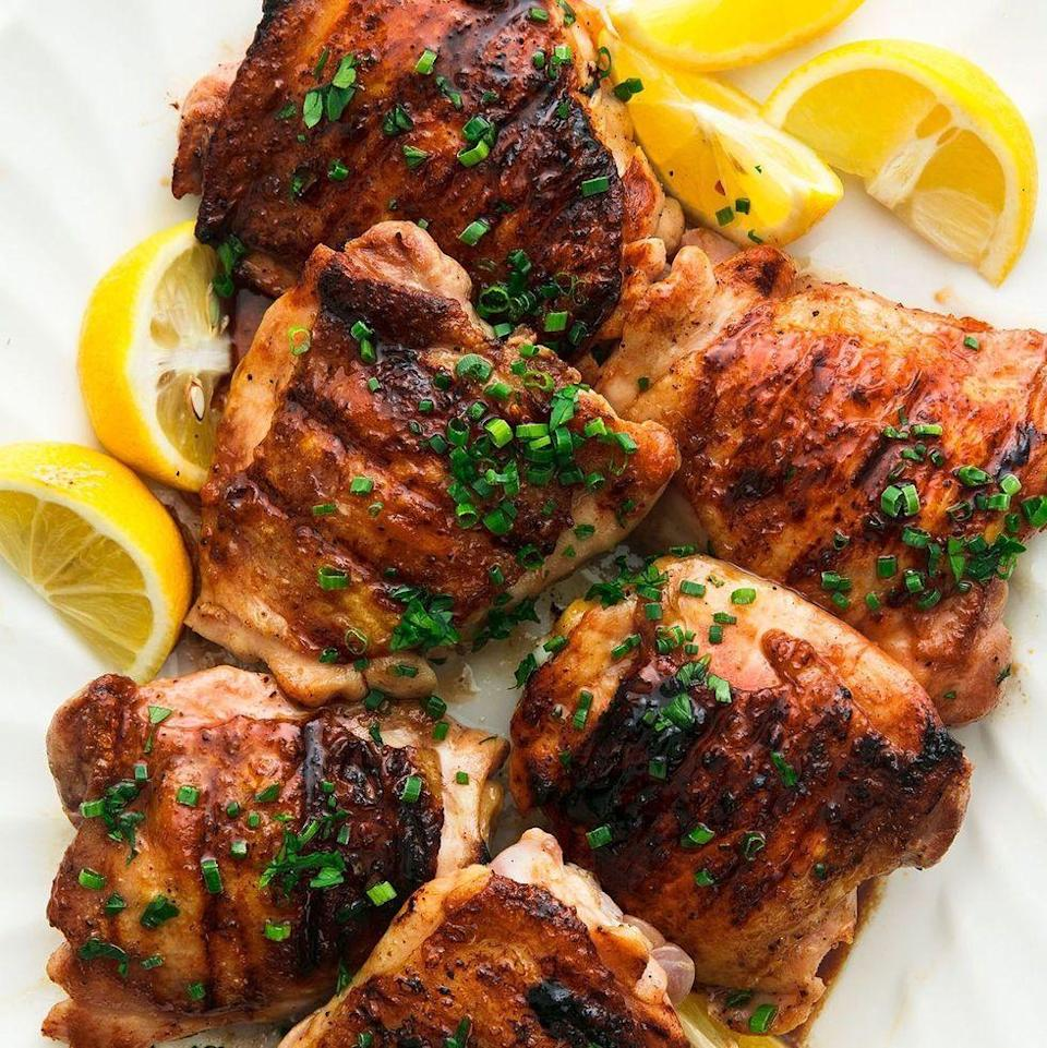 """<p>We love <a href=""""https://www.delish.com/uk/cooking/recipes/g30242756/chicken-thigh-recipes/"""" rel=""""nofollow noopener"""" target=""""_blank"""" data-ylk=""""slk:chicken thighs"""" class=""""link rapid-noclick-resp"""">chicken thighs</a> for how much flavour they bring. Grilling your thighs means even more flavour and we are always down for that. </p><p>Get the <a href=""""https://www.delish.com/uk/cooking/recipes/a30243613/best-grilled-chicken-thighs-recipe/"""" rel=""""nofollow noopener"""" target=""""_blank"""" data-ylk=""""slk:Honey Balsamic Grilled Chicken Thighs"""" class=""""link rapid-noclick-resp"""">Honey Balsamic Grilled Chicken Thighs</a> recipe.</p>"""