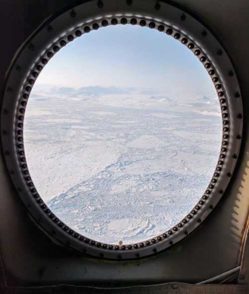 Window view of the NASA IceBridge P-3 research plane. Source: Instagram / Nasa
