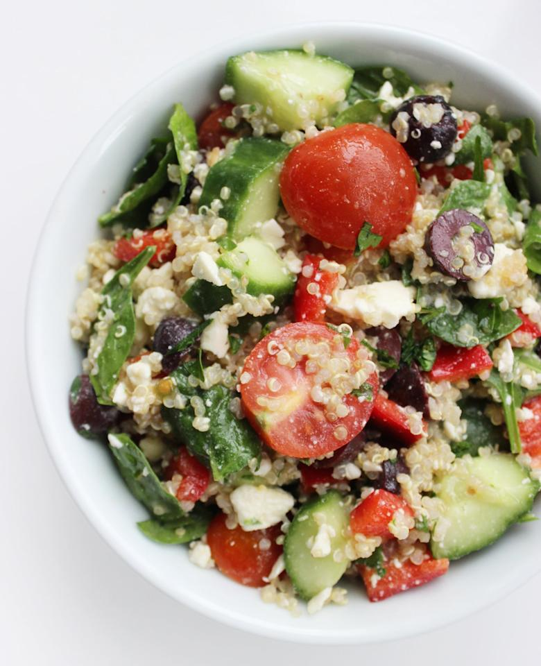 """<p>I make this for lunch at least four days a week (and sometimes dinner, when I'm feeling lazy).</p> <p>Get the recipe: <a href=""""https://www.popsugar.com/fitness/Mediterranean-Quinoa-Salad-36739975"""" class=""""ga-track"""" data-ga-category=""""Related"""" data-ga-label=""""https://www.popsugar.com/fitness/Mediterranean-Quinoa-Salad-36739975"""" data-ga-action=""""In-Line Links"""">Mediterranean quinoa salad</a></p>"""