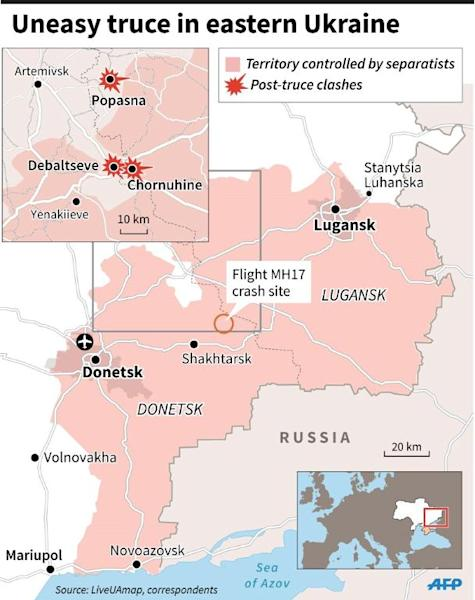 Map of eastern Ukraine locating post-truce clashes