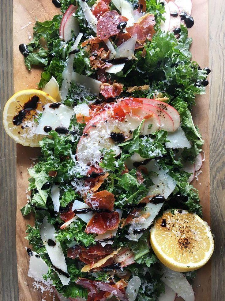 """<p>Can we always top our salads with meat and cheese, please?</p><p>Get the recipe from <a href=""""/cooking/recipe-ideas/recipes/a46518/kale-apple-pecorino-salad-with-crispy-prosciutto-and-balsamic-drizzle-recipe/"""" data-ylk=""""slk:Delish"""" class=""""link rapid-noclick-resp"""">Delish</a>.<br></p>"""