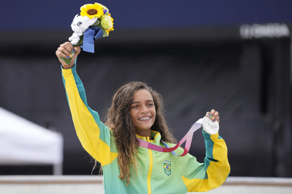 FILE - In this July 26, 2021 file photo, silver medal winner Rayssa Leal of Brazil holds her medal after the women's street skateboarding finals at the 2020 Summer Olympics, in Tokyo, Japan. Life has been nothing-but-normal for the Brazilian teenager who became an overnight sensation after winning a silver medal at the Olympics' inaugural skateboarding competition. (AP Photo/Ben Curtis, file)