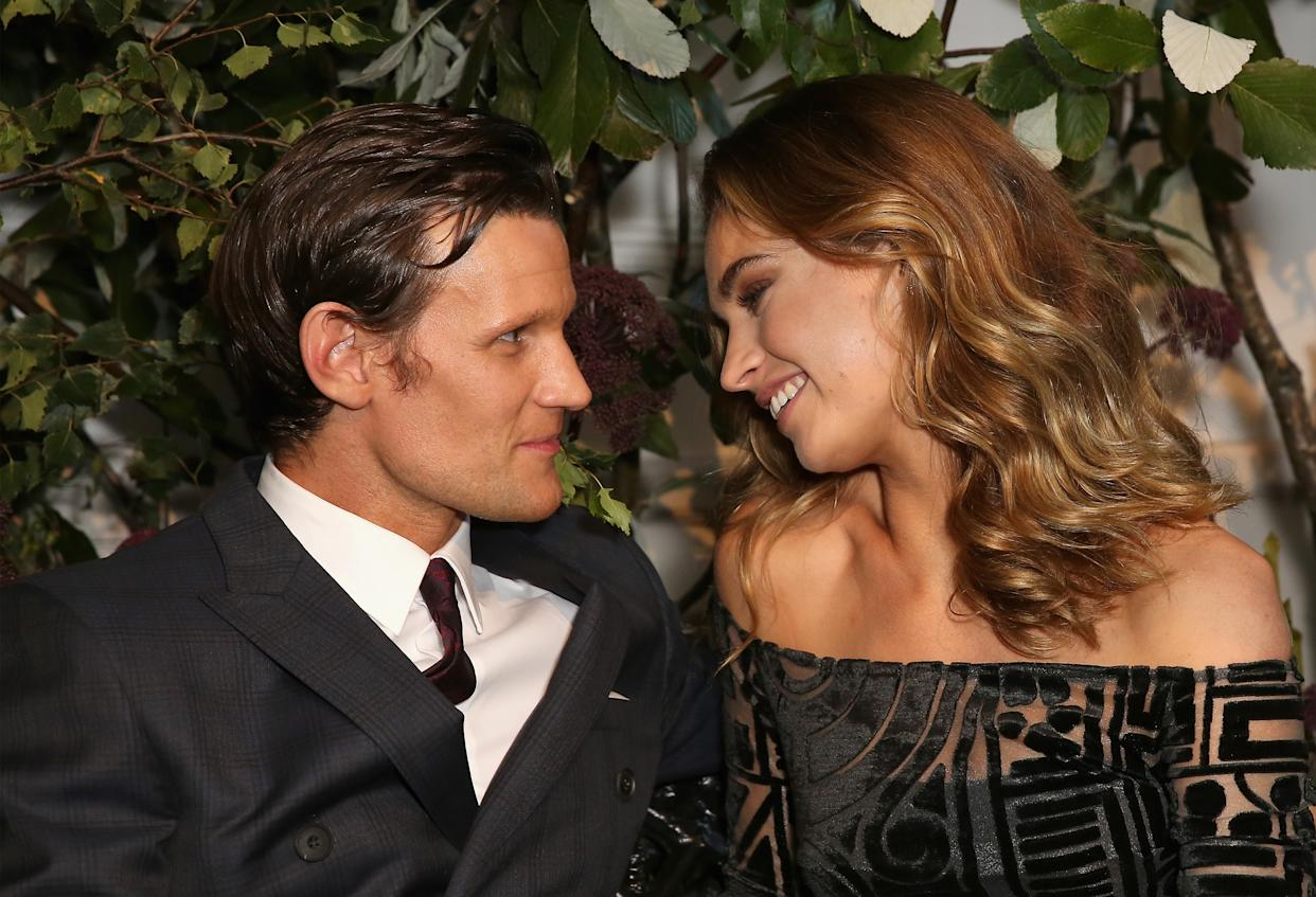 LONDON, ENGLAND - AUGUST 22:  Matt Smith and Lily James attend an event hosted by Lily James to celebrate the launch of My Burberry Black at Burberry's all day cafe Thomas's on August 22, 2016 in London, England.  (Photo by David M. Benett/Getty Images for Burberry)