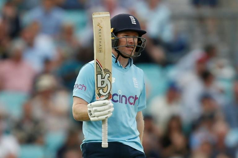 Captain's innings -- England skipper Eoin Morgan celebrates his fifty at the Oval on Thursday