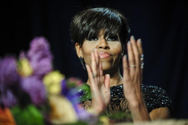 WASHINGTON, DC - APRIL 27: First lady Michelle Obama attends the White House Correspondents' Association Dinner on April 27, 2013 in Washington, DC. The dinner is an annual event attended by journalists, politicians and celebrities. (Photo by Pete Marovich-Pool/Getty Images)