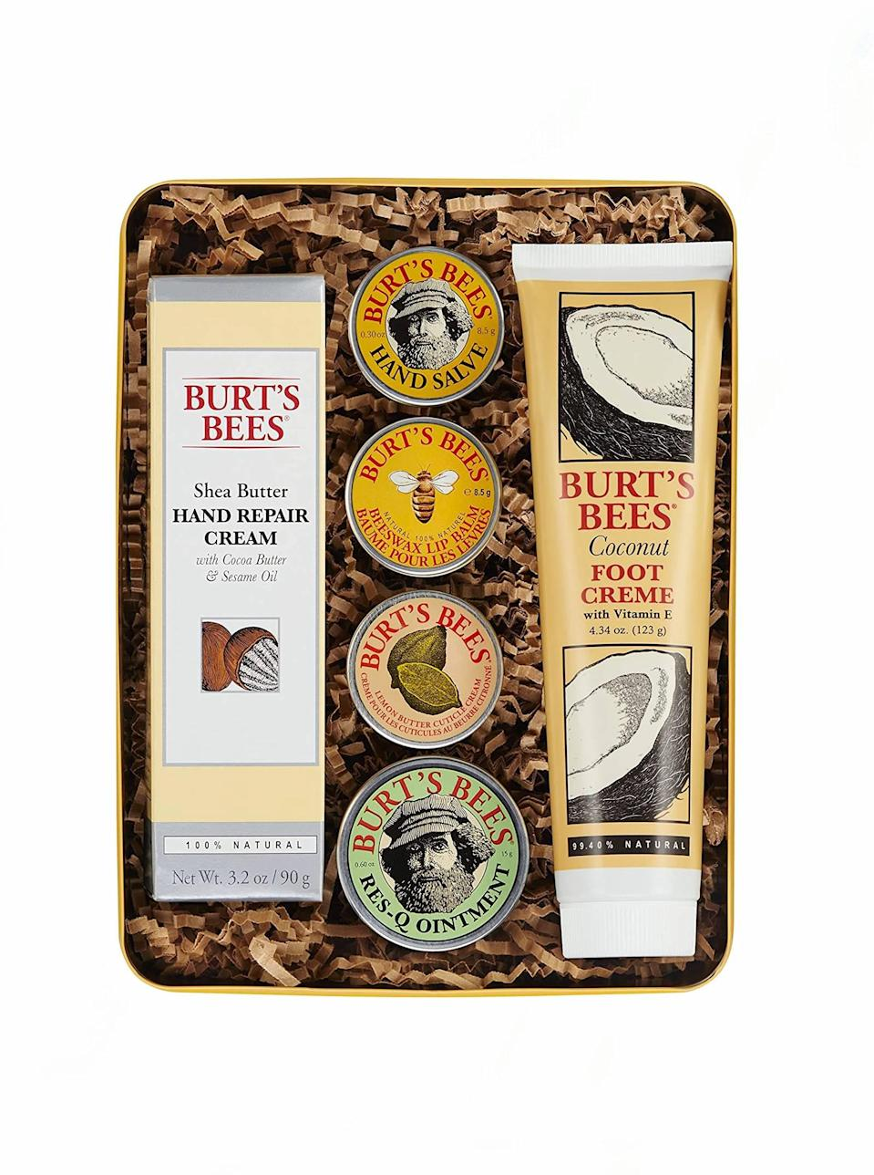 "The all-natural mama who keeps it classic will get a little bit of everything with this variety pack from Burt's Bees. With regular use of these holy grail products, her hands, feet, and lips will be soothed to the max. $19, Amazon. <a href=""https://www.amazon.com/dp/B00VK5SG46/"" rel=""nofollow noopener"" target=""_blank"" data-ylk=""slk:Get it now!"" class=""link rapid-noclick-resp"">Get it now!</a>"