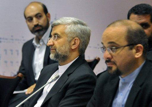 <p>Chief Iranian nuclear negotiator Saeed Jalili (2nd L) takes part in the talks on the controversial Iranian nuclear programme in Moscow, in June. The US Congress Wednesday approved punishing new sanctions targeting Iran's energy and shipbuilding sectors, a day after President Barack Obama unveiled measures to cripple Tehran's nuclear drive.</p>