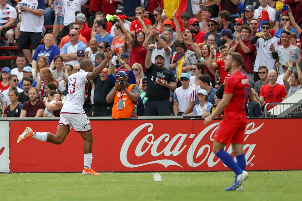 CINCINNATI, OH - JUNE 09: José Salomón Rondón (23) of Venezuela reacts after scoring his second goal during the international friendly soccer match between the United States and Venezuela at Nippert Stadium on June 09, 2019 in Cincinnati, Ohio. (Photo by Adam Lacy/Icon Sportswire via Getty Images)