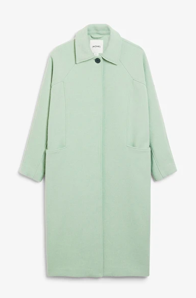 """<br><br><strong>Monki</strong> Long Tailored Coat, $, available at <a href=""""https://www.monki.com/en_gbp/clothing/coats-and-jackets/product.long-tailored-coat-pistachio-green.0754773002.html"""" rel=""""nofollow noopener"""" target=""""_blank"""" data-ylk=""""slk:Monki"""" class=""""link rapid-noclick-resp"""">Monki</a>"""