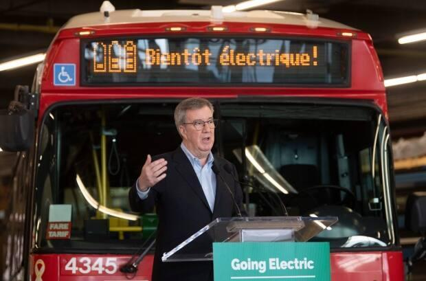 Ottawa Mayor Jim Watson says the city is aiming have a full fleet of electric buses by 2036. (The Canadian Press - image credit)