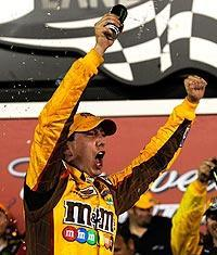 Kyle Busch celebrated his victory in the Bud Shootout