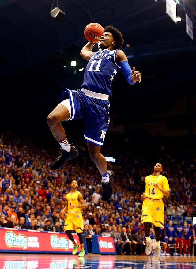 <p>Jackson, who will miss Kansas' Big 12 conference tournament opener because of a one-game suspension, has the chance to both lead the No. 1 Jayhawks to the national title and then be the No. 1 pick in the NBA draft, much like former Jayhawk Danny Manning did in 1988. The reason both could happen is because the 6-foot-8, 207-pound Jackson is the ideal two-way player, chasing down shots (1.1 bpg) while harassing ball-handlers (1.6 spg). </p>