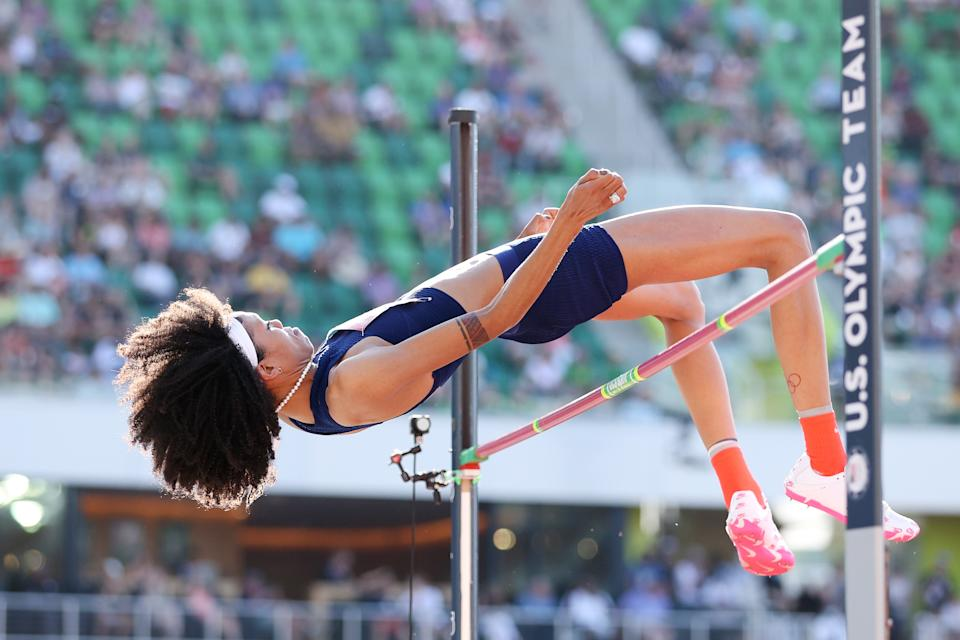 EUGENE, OREGON - JUNE 20: Vashti Cunningham competes in the Women's High Jump Final on day three of the 2020 U.S. Olympic Track & Field Team Trials at Hayward Field on June 20, 2021 in Eugene, Oregon. (Photo by Patrick Smith/Getty Images)