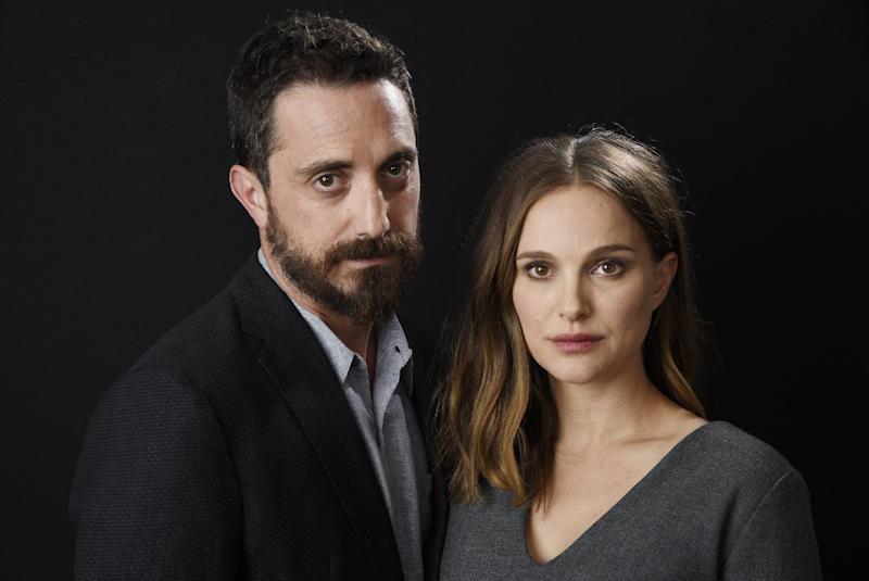 "In this Nov. 11, 2016 photo, director Pablo Larrain, left, and actress Natalie Portman pose for a portrait to promote the film, ""Jackie"" at the Four Seasons Hotel in Los Angeles. (Photo by Chris Pizzello/Invision/AP)"
