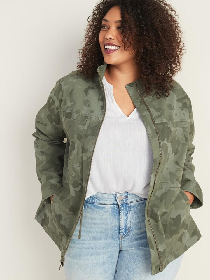 "<p>In addition to everything we love about the <product href=""https://oldnavy.gap.com/browse/product.do?pid=563154032&amp;pcid=999&amp;vid=1&amp;&amp;searchText=camo%20jcaket#pdp-page-content"" target=""_blank"" class=""ga-track"" data-ga-category=""internal click"" data-ga-label=""https://oldnavy.gap.com/browse/product.do?pid=563154032&amp;pcid=999&amp;vid=1&amp;&amp;searchText=camo%20jcaket#pdp-page-content"" data-ga-action=""body text link"">Scout Utility Plus-Size Jacket</product> ($53), it also has spandex in it, so there's some slight stretch to the fit.</p>"