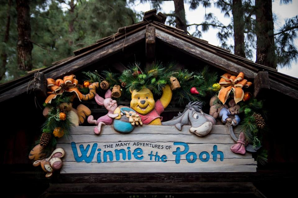 """<p>This ride is """"bear-ly"""" visible when walking along in Critter Country, but looking up you can see Pooh and his friends smiling at you from their sign above. This attraction has riders step aboard their very own beehive in order to enter The Hundred Acre Wood. Inspired by the 1977 classic movie, you'll wave to all of Christoper Robin's best palls as you leisurely drift along wondering where you can get your own jar of honey. (Incidentally, the shop at Pooh Corner has tasty treats mere steps away from the exit of this attraction.)</p>"""