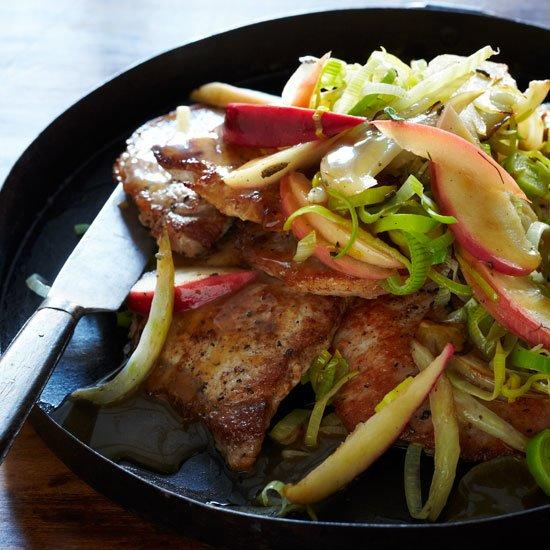 """<p>Boneless, thin-cut pork chops can be fully cooked in three minutes, a fraction of the time it takes to cook thicker chops. Here, Melissa Rubel Jacobson combines the meat with a few distinctly autumnal ingredients: sage, apple and hard cider.</p><p><a href=""""https://www.foodandwine.com/recipes/december-2008-pork-chops-with-apple-fennel-and-sage"""">GO TO RECIPE</a></p>"""