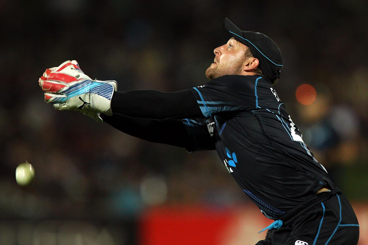 NAPIER, NEW ZEALAND - FEBRUARY 20:  Brendon McCullum of New Zealand misses a catch off the batting of Joe Root of England during the second match of the international Twenty20 series between New Zealand and England at McLean Park on February 20, 2013 in Napier, New Zealand.  (Photo by Hagen Hopkins/Getty Images)