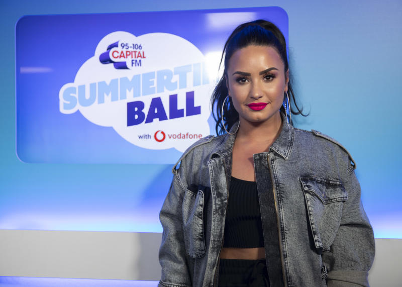 Demi Lovato in the on air studio during Capital's Summertime Ball with Vodafone at Wembley Stadium, London. (Photo by Lauren Hurley/PA Images via Getty Images)
