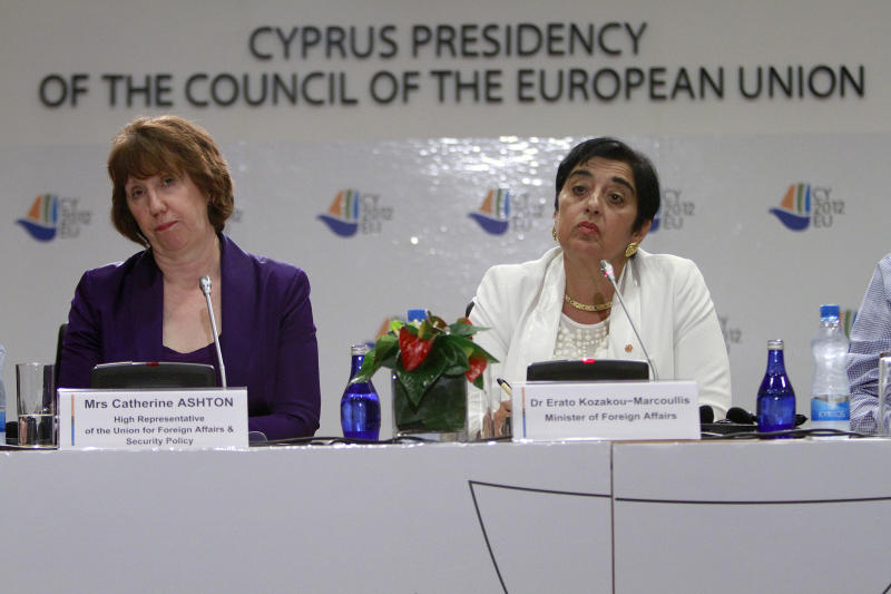 Cyprus' foreign minister Erato Kozakou-Marcoullis, right, and EU foreign policy chief Catherine Ashton speak to the media during a press conference in capital Nicosia, Cyprus, Saturday, Sept. 8, 2012. Ashton said that a top priority for the EU is to offer its full backing to the new U.N.-Arab League envoy to Syria, Lakhdar Brahimi who is set to begin mediation efforts to end the violence between Syrian President Bashar Assad's regime and opposition groups seeking to topple his rule. (AP Photo/Petros Karadjias)