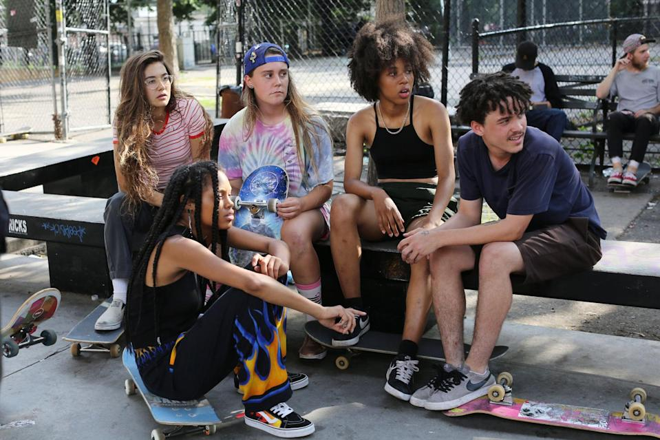 """<p>A coming-of-age story, a teenager's life does a 360 when she meets a group of girl skateboarders. The more she skates around New York City, the more she learns about skateboard culture and friendship. </p> <p><a href=""""http://www.hulu.com/movie/skate-kitchen-955af1b7-1c72-4350-b427-a35bb61a858f"""" class=""""link rapid-noclick-resp"""" rel=""""nofollow noopener"""" target=""""_blank"""" data-ylk=""""slk:Watch Skate Kitchen on Hulu."""">Watch <strong>Skate Kitchen</strong> on Hulu.</a></p>"""