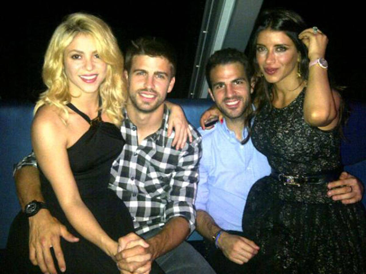 Gerard Pique posed this image on Twitter of himself with Shakira, Cesc F�bregas and Daniella Semaan  with the caption 'Enjoying a great night!'  Credit: Gerard Pique/Twitter Supplied by WENN.com  (WENN does not claim any Copyright or License in the attached material. Any downloading fees charged by WENN are for WENN's services only, and do not, nor are they intended to, convey to the user any ownership of Copyright or License in the material. By publishing this material, the user expressly agrees to indemnify and to hold WENN harmless from any claims, demands, or causes of action arising out of or connected in any way with user's publication of the material.)