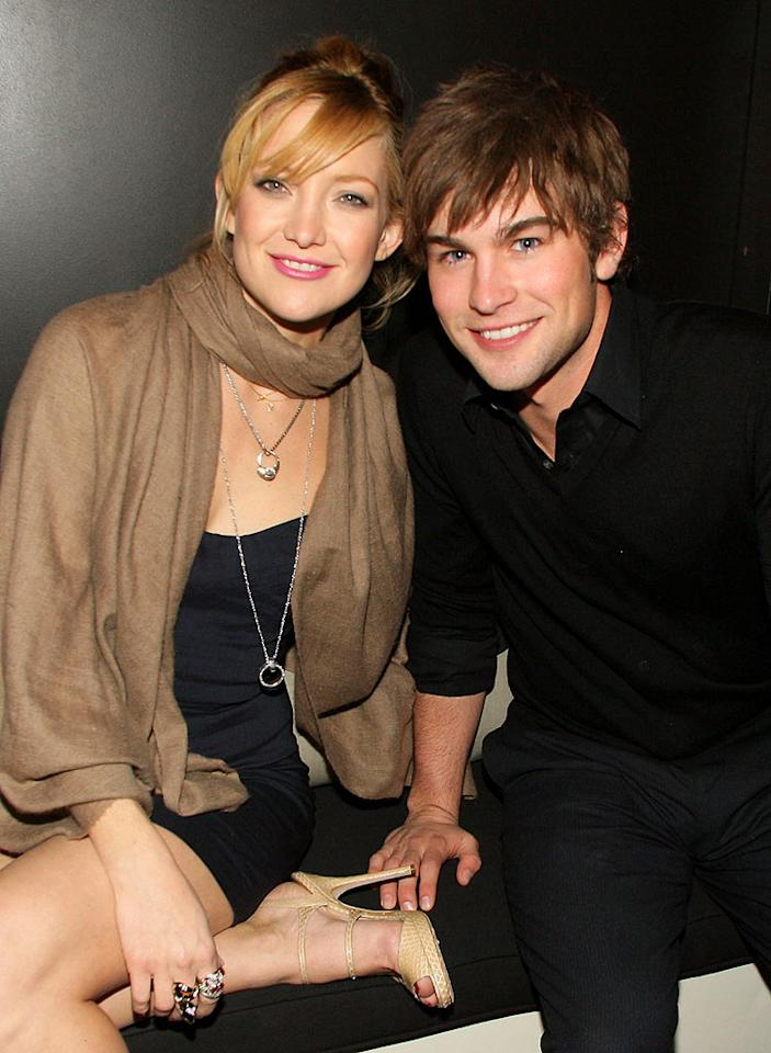 """Kate Hudson and Chace Crawford are all smiles at the """"Fool's Gold"""" cocktail reception. The romantic comedy, which reunites Kate with Matthew McConaughey, opens Friday, February 8, 2008. Chris Polk/<a href=""""http://www.wireimage.com"""" target=""""new"""">WireImage.com</a> - February 1, 2008"""