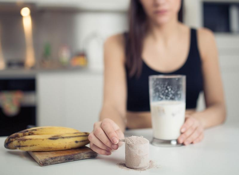Woman with protein shake