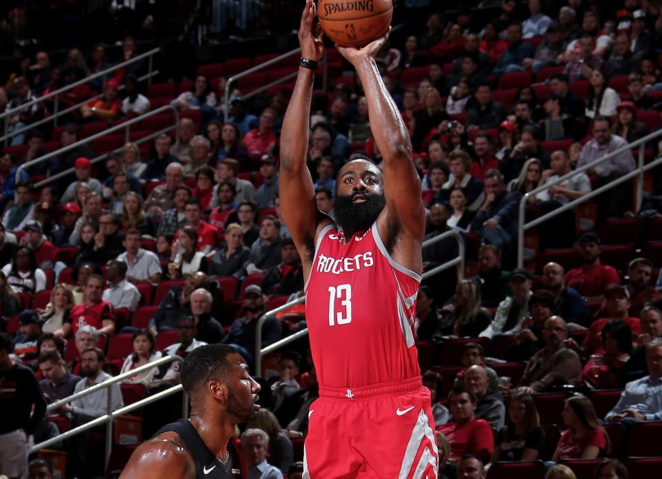 James Harden led the way as Houston set the NBA 3-point record for a single game. (Getty)