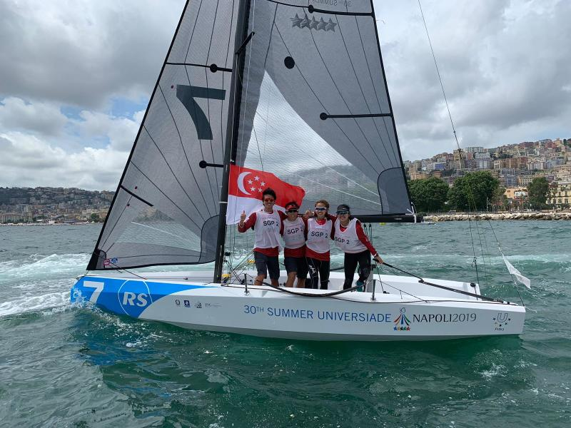 The bronze-winning Singapore sailing team at the 2019 World University Games: (from left) Matthew Scott Lau, Tan Jen-E, Cheryl Teo and Jillian Lee. (PHOTO: International University Sports Federation)