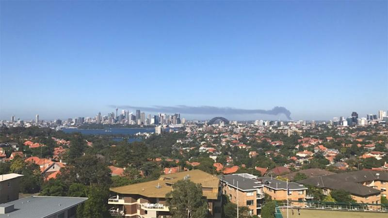 Smoke could be seen all the way from north shore. Source: Twitter
