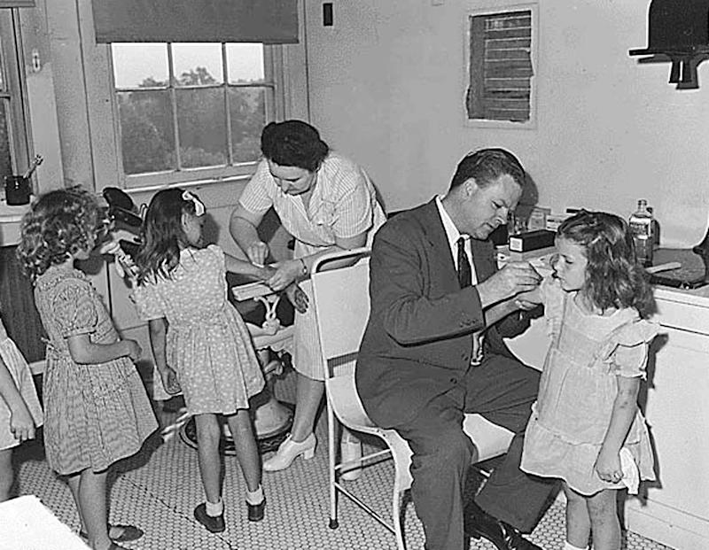 Children receive a smallpox vaccination in August 1946 in Tazewell County,Virginia