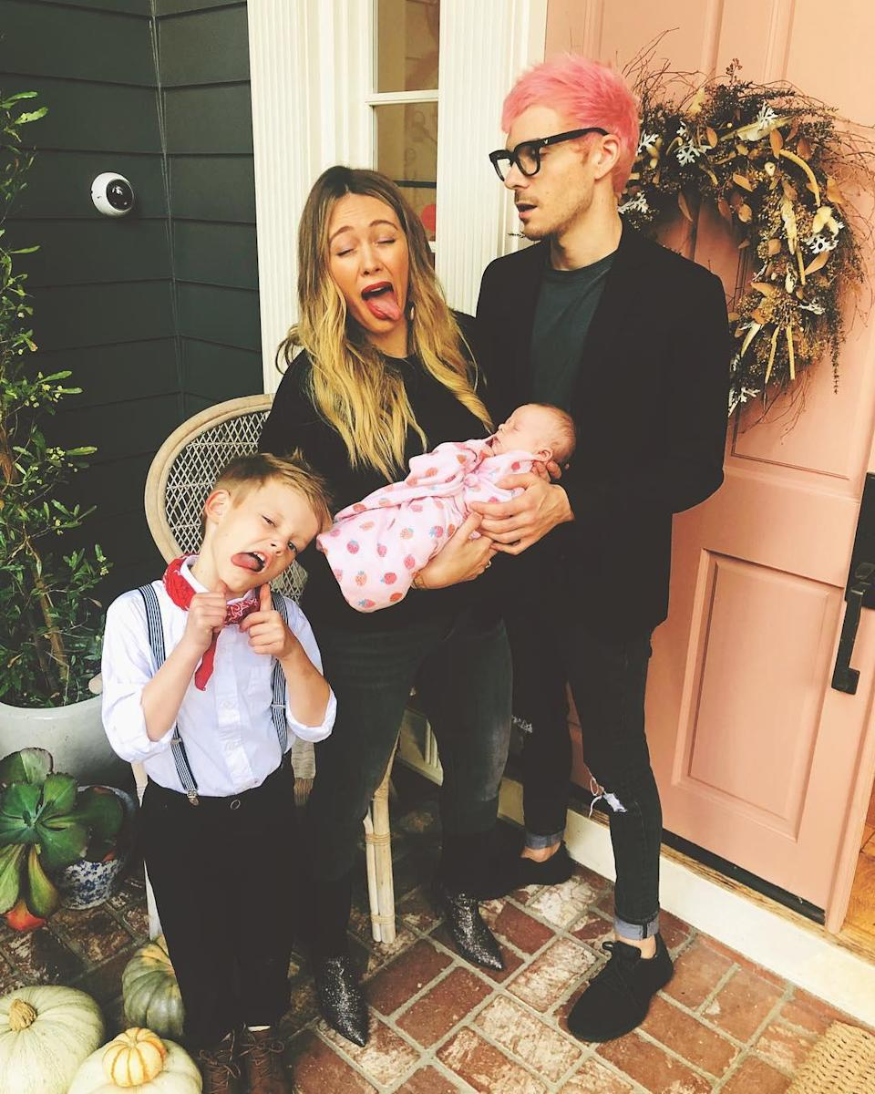 """<p>They're not a regular family, they're a silly family, and Banks — who arrived on Oct. 25, 2018 — is learning the ropes.</p> <p>In November 2018, Duff <a href=""""https://www.instagram.com/p/BqTvd_ZgCDH/"""" rel=""""nofollow noopener"""" target=""""_blank"""" data-ylk=""""slk:captioned a photo"""" class=""""link rapid-noclick-resp"""">captioned a photo</a> of the family making funny faces, """"Banks ... you gotta try harder."""" </p>"""